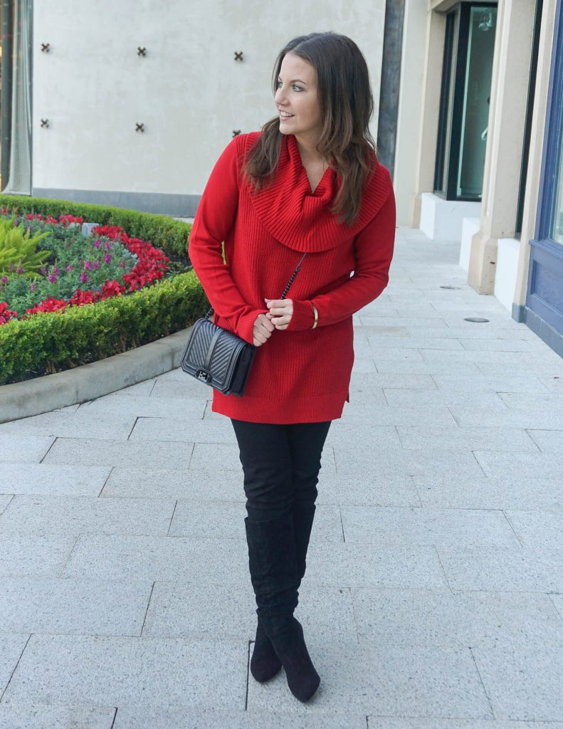Winter Outfit | Red Christmas Sweater | Black Jeans | Houston Fashion Blogger Lady in Violet