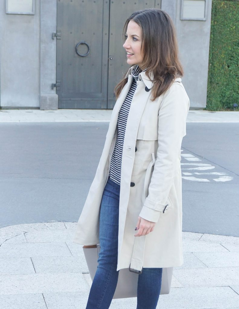 Winter Outfit | Trench Coat | Blue Skinny Jeans | Houston Fashion Blogger Lady in Violet