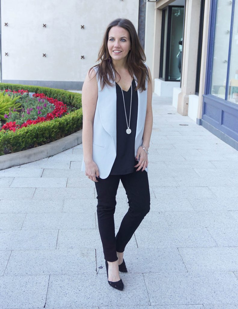 Casual NYE Outfit | Gray Vest | All Black Outfit | Houston Fashion Blogger Lady in Violet