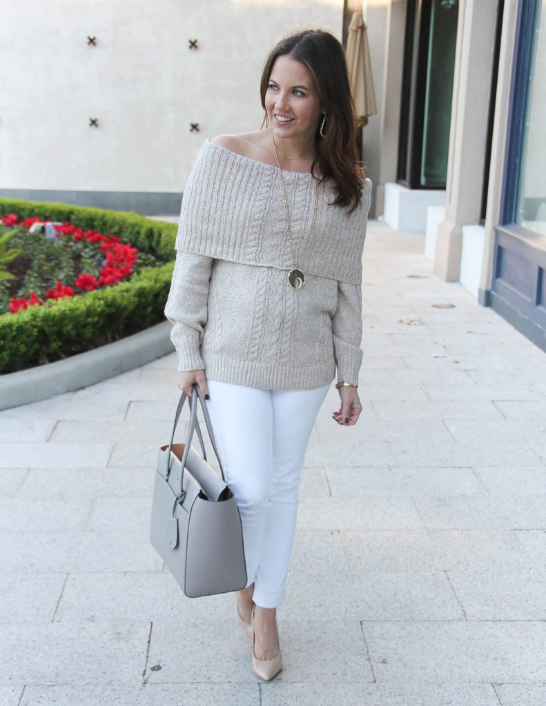 Casual Outfit | Off the Shoulder Sweater | Neutral Outfit Idea | Houston Fashion Blogger Lady in Violet