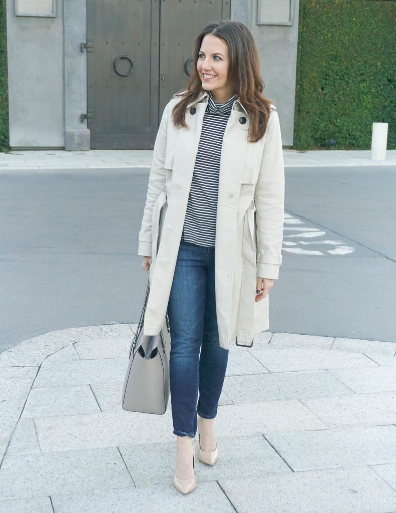 Casual Outfit | Striped Turtleneck | Trench Coat | Houston Fashion Blogger Lady in Violet