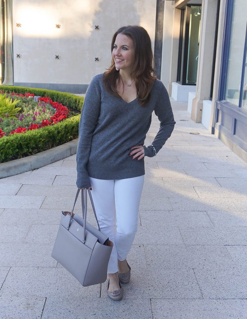 Casual Winter Outfit | Cashmere Sweater | White Jeans | Houston Fashion Blogger Lady in Violet