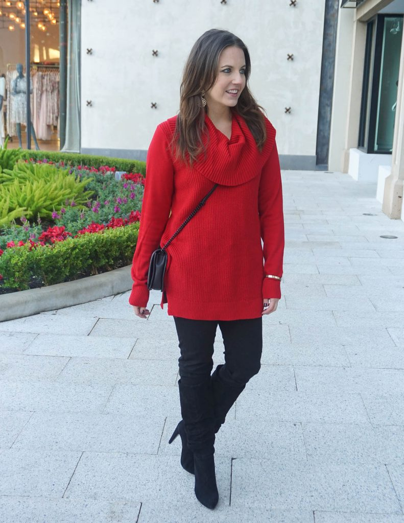 Casual Winter Outfit | Red Sweater | Black Boots | Houston Fashion Blogger Lady in Violet