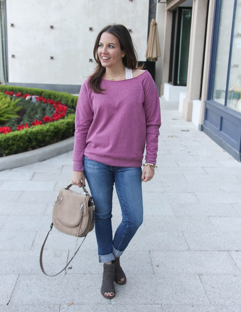 Fall Outfit | Slouchy Sweater with lace bralette | Houston Fashion Blogger Lady in Violet
