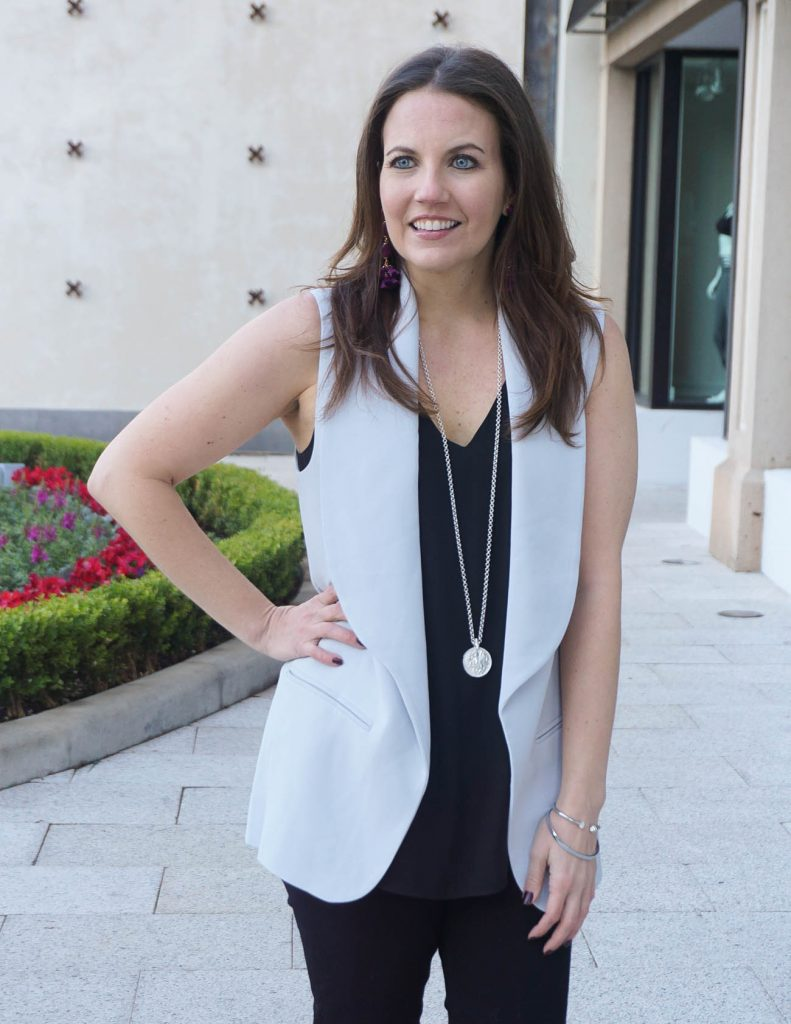 Date Night Outfit | Gray Vest | Black Cami | Houston Fashion Blogger Lady in Violet