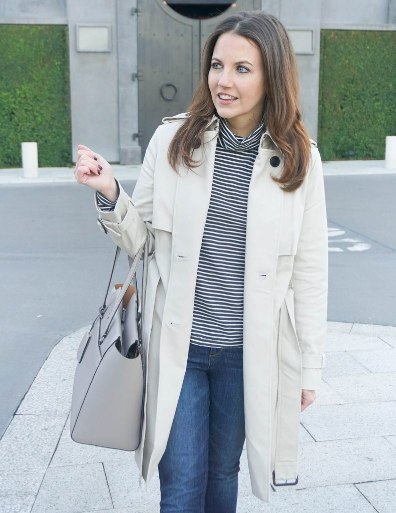 Fall Outfit | Striped Turtleneck | Trench Coat | Houston Fashion Blogger Lady in Violet