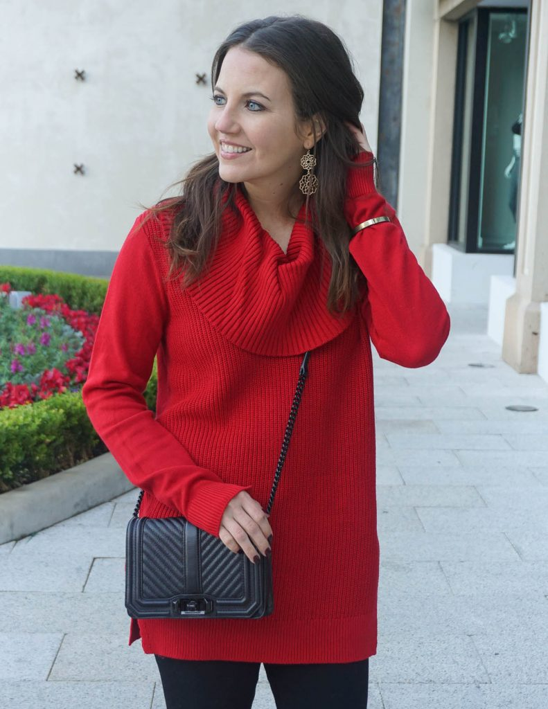 Holiday Outfit | Red Sweater | Love Crossbody Bag | Houston Fashion Blogger Lady in Violet