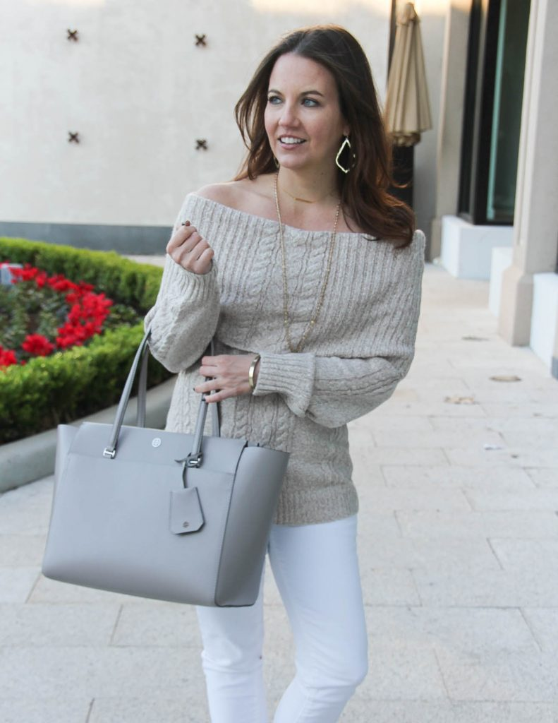 Monochromatic Outfit | Tory Burch Tote Bag | Cable Knit Sweater | Houston Fashion Blogger Lady in Violet