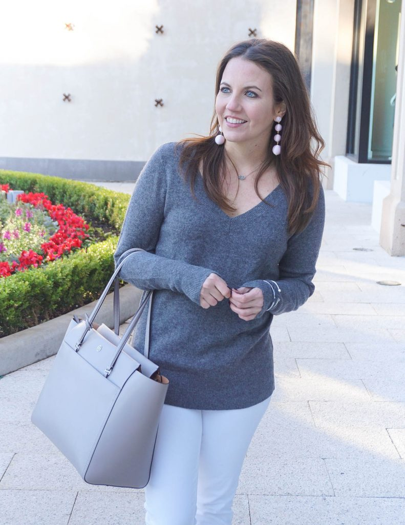Winter Outfit | Gray Sweater | Pink Ball Drop Earrings | Houston Fashion Blogger Lady in Violet