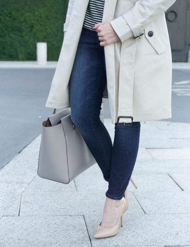 Fall Casual Outfit | Dark Skinny Jeans | Nude Heels | Houston Fashion Blogger Lady in Violet