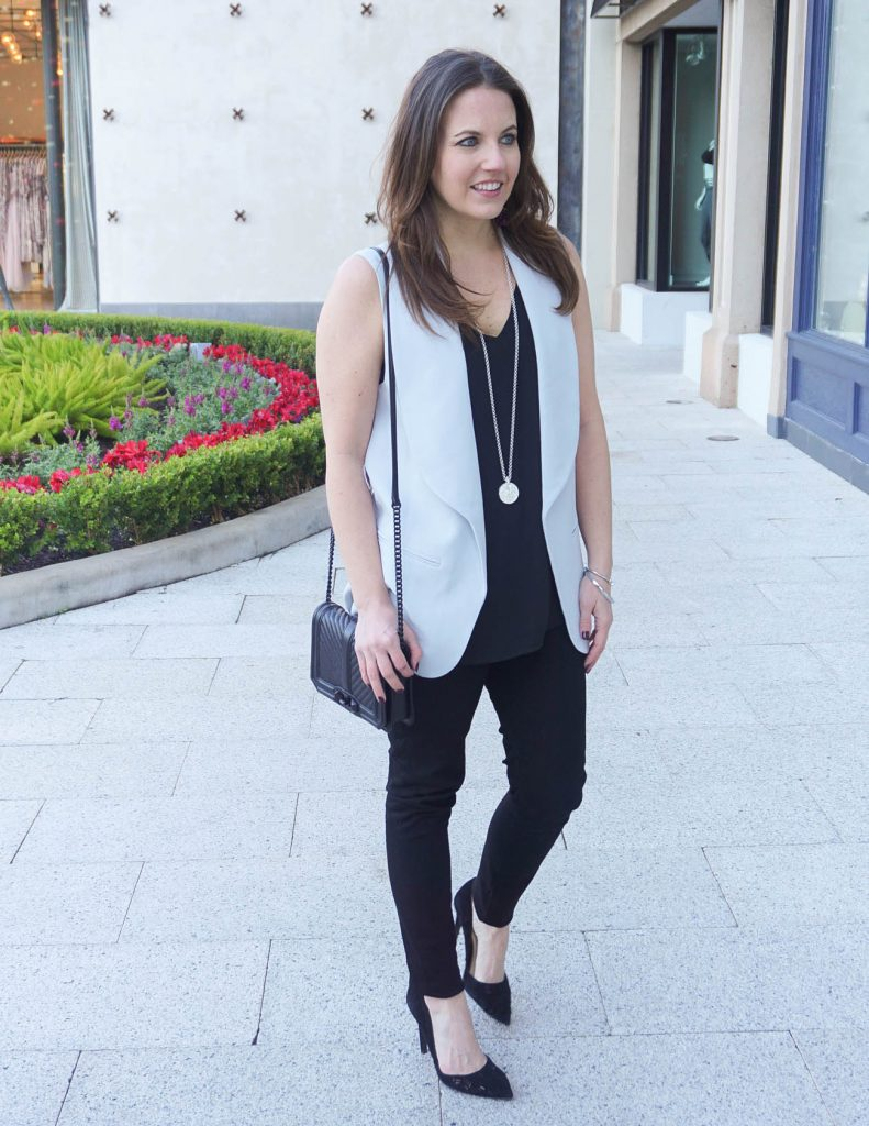 Casual NYE Outfit | Black Skinny Jeans | Gray Vest | Houston Fashion Blogger Lady in Violet