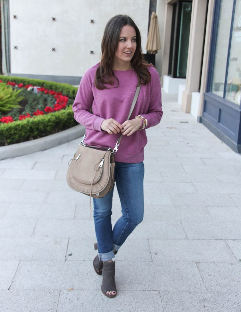 Fall Casual Outfit | Pink Sweatshirt | Blue jeans | Houston Fashion Blogger Lady in Violet