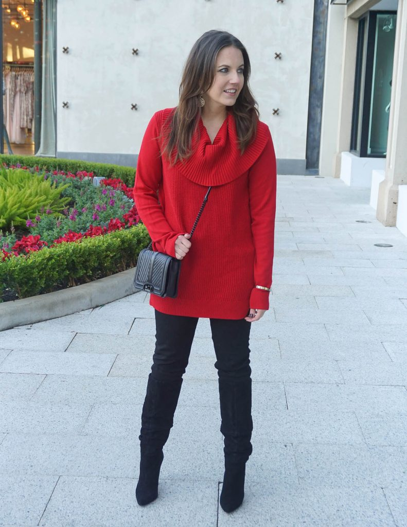Winter Outfit | Red Cowl Neck Sweater | Black Skinny Jeans | Houston Fashion Blogger Lady in Violet