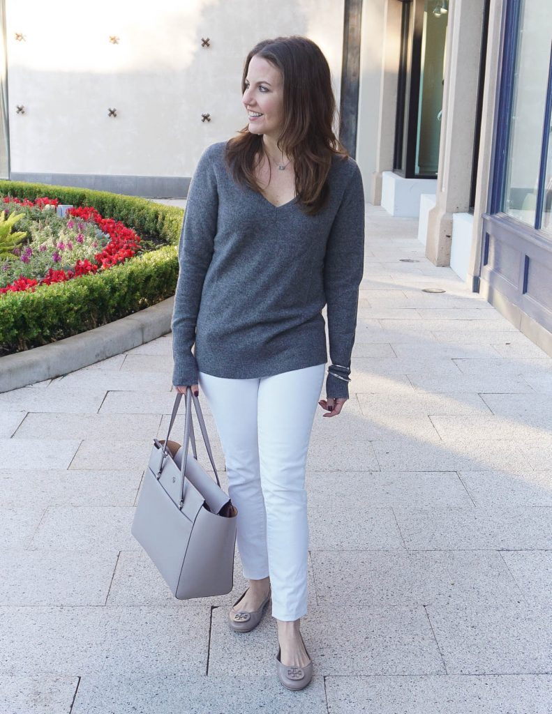 Casual Outfit | Gray VNeck Sweater | White Jeans | Houston Fashion Blogger Lady in Violet