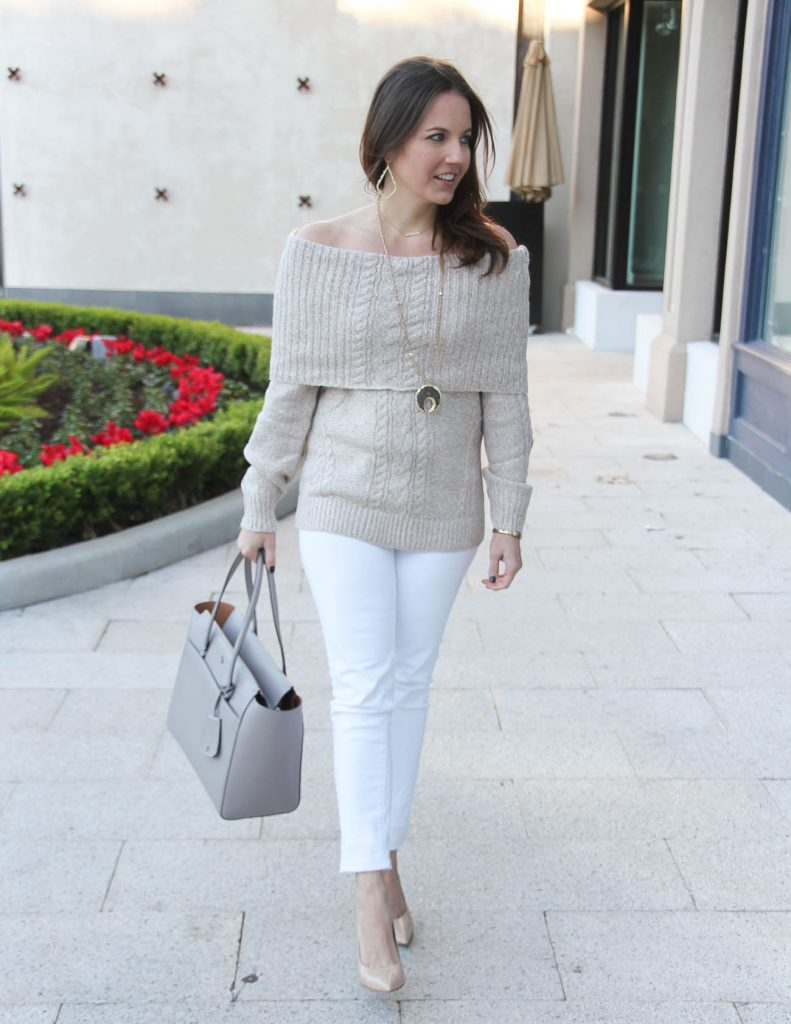 Sophisticate Style | Winter Outfit | Off the Shoulder Sweater | Houston Fashion Blogger Lady in Violet