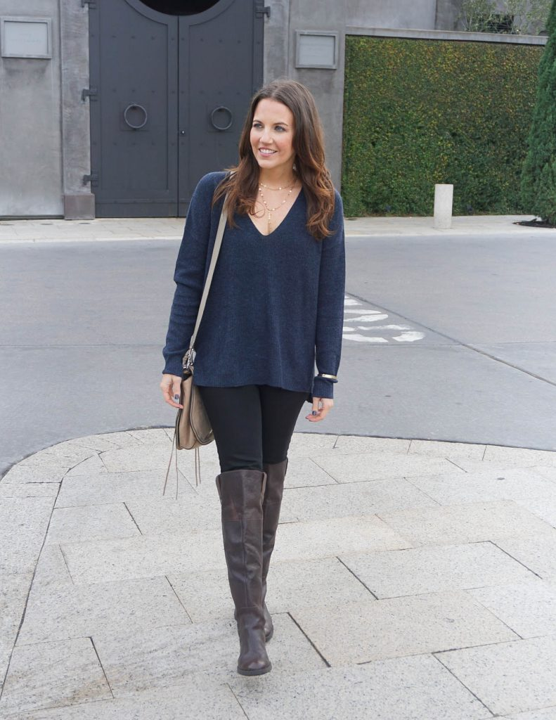 Casual Outfit | Navy Sweater | Brown OTK Boots | Houston Fashion Blogger Lady in Violet
