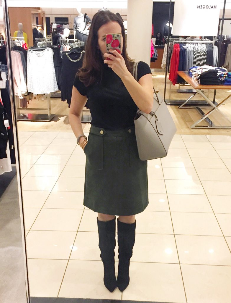 Fall Work Outfit | Olive Suede Skirt | Slouchy Boots | Houston Fashion Blogger Lady in Violet
