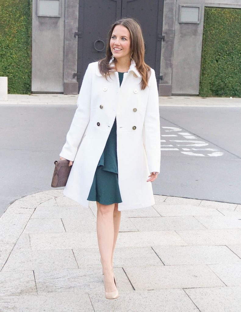 Winter Outfit | Ivory Wool Coat | Teal Dress | Houston Fashion Blogger Lady in Violet