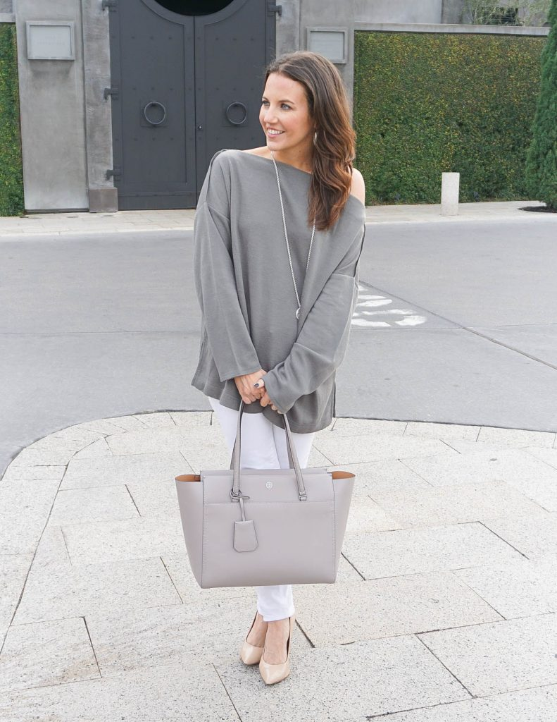 Winter Outfit | Loungewear Sweater | White Jeans | Houston Fashion Blogger Lady in Violet