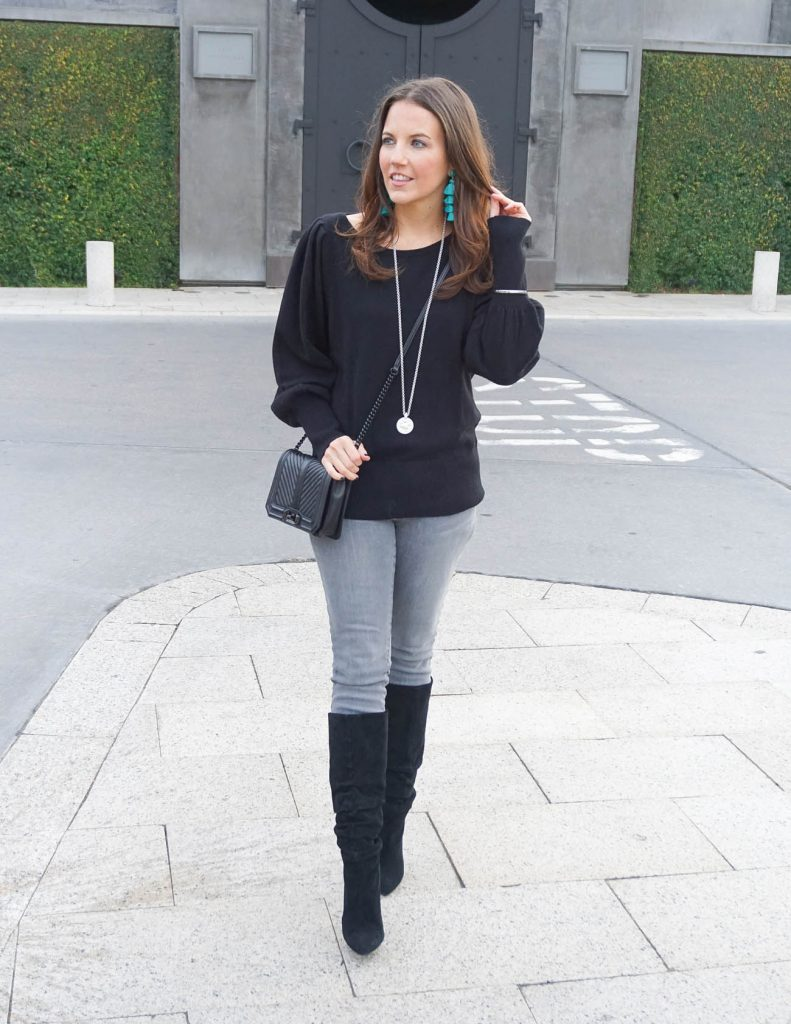 Winter Outfit | Statement Sleeve Sweater | Gray Jeans | Houston Fashion Blogger Lady in Violet