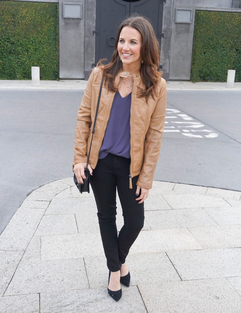 Winter Outfit | Tan Leather Jacket | Black Skinny Jeans | Houston Fashion Blogger Lady in Violet