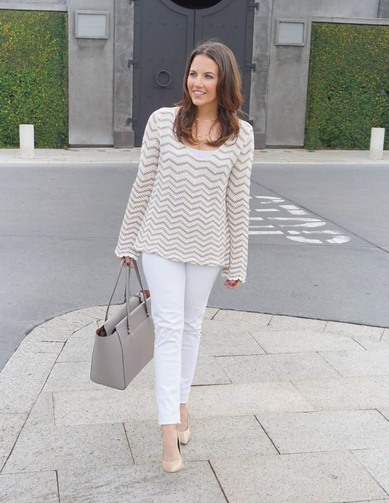 Winter Outfit | White Jeans | Striped Sweater | Houston Fashion Blogger