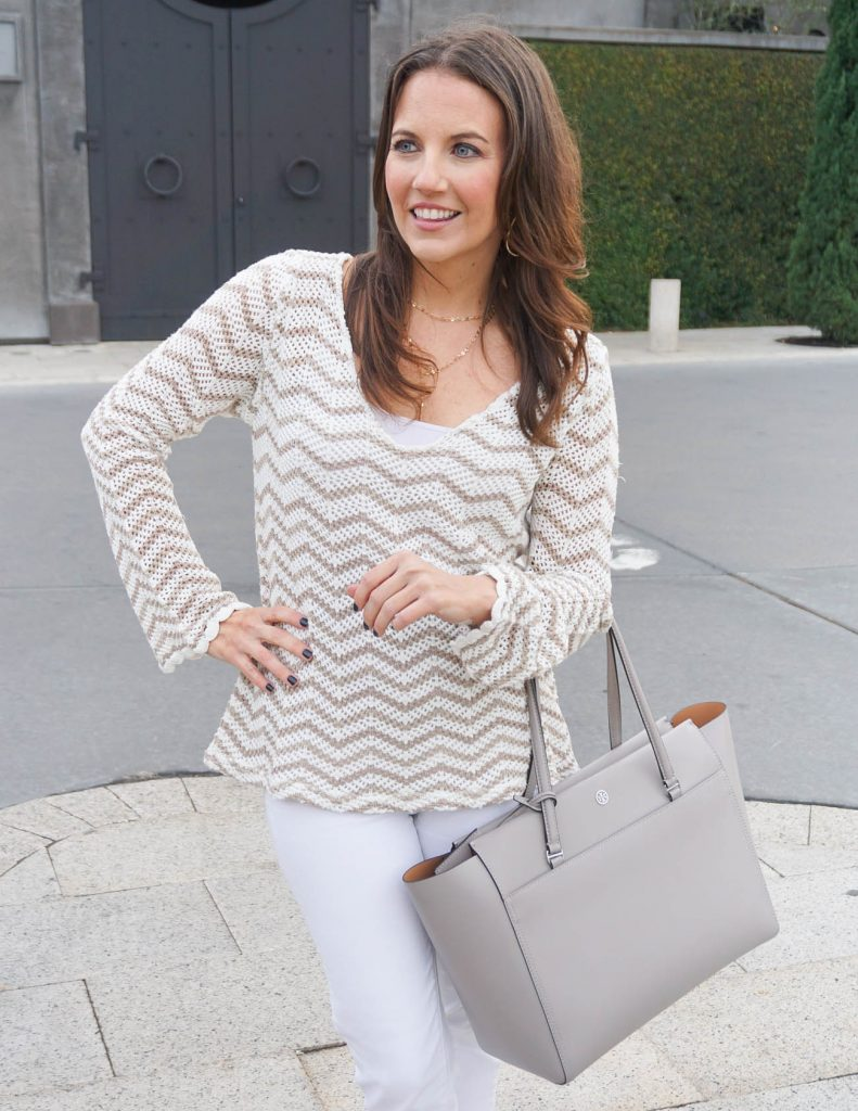 Casual Outfit | Crochet Sweater | Tory Burch Tote | Houston Fashion Blogger Lady in Violet
