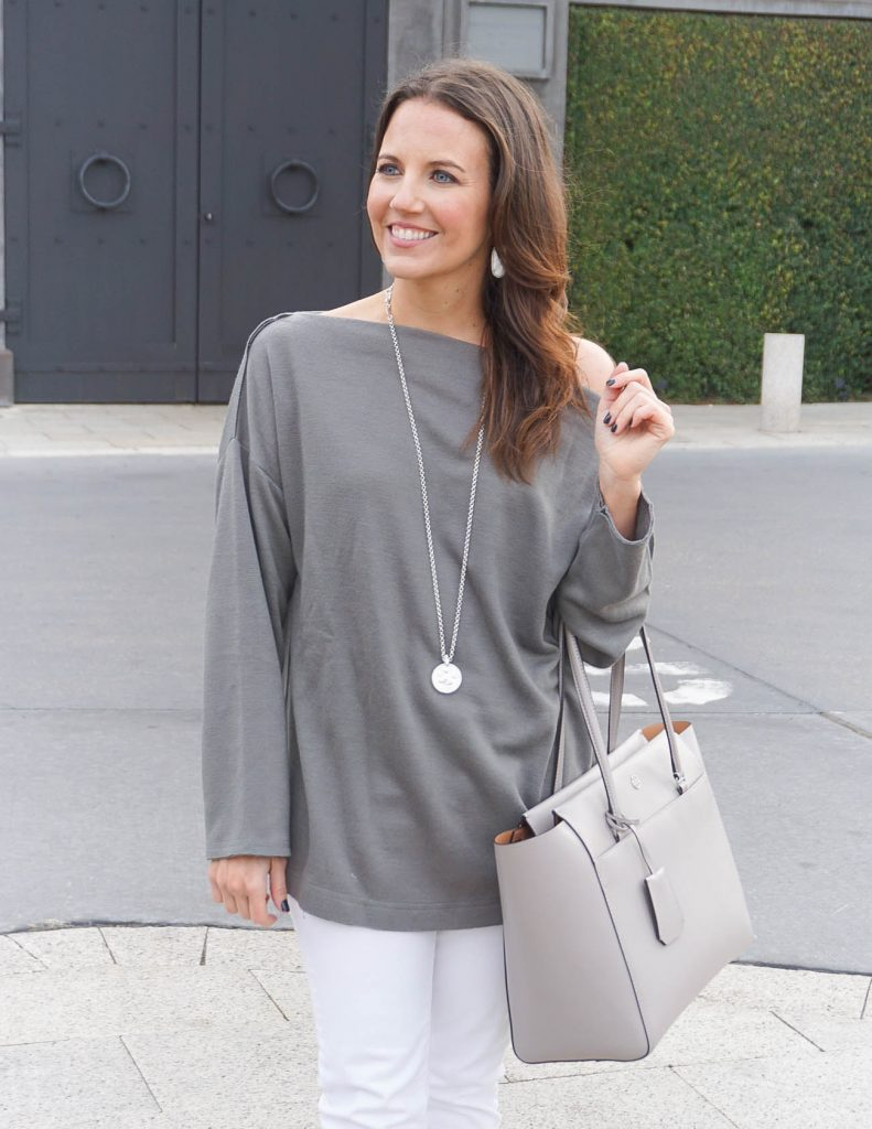 Casual Outfit | Gray Tunic Sweater | Long Silver Necklace | Houston Fashion Blogger Lady in Violet