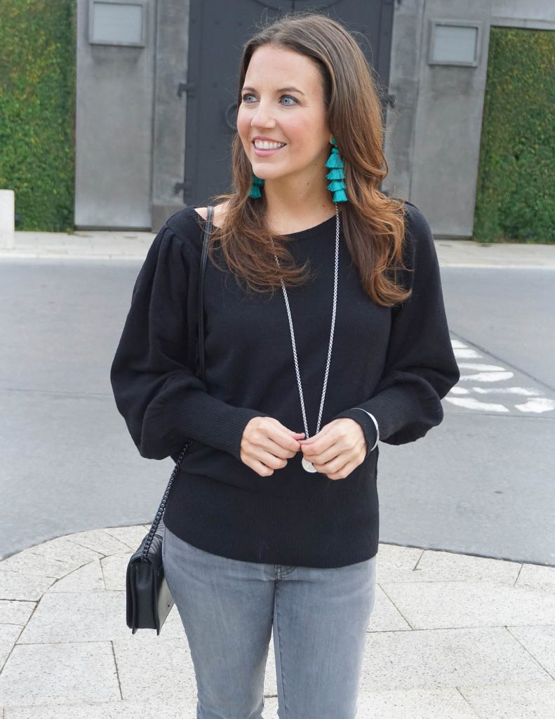 Casual Outfit | Teal Tassel Earrings | Black Sweater | Houston Fashion Blogger Lady in Violet