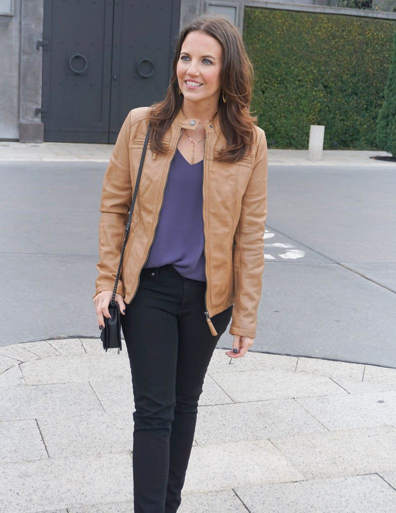 Fall Outfit | Tan Leather Jacket | Purple Camisole | Houston Fashion Blogger Lady in Violet