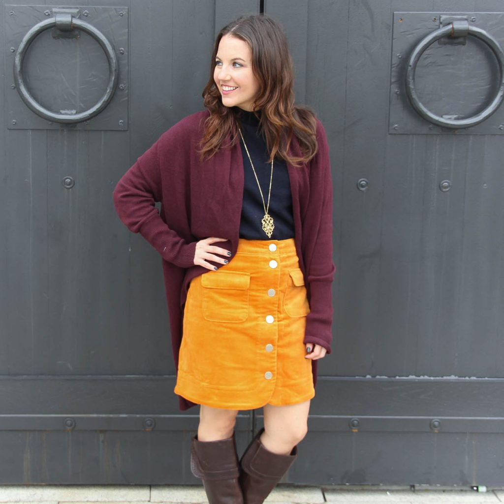 Fall Work Outfit | Corduroy Skirt | Burgundy Cardigan | Houston Fashion Blogger Lady in Violet
