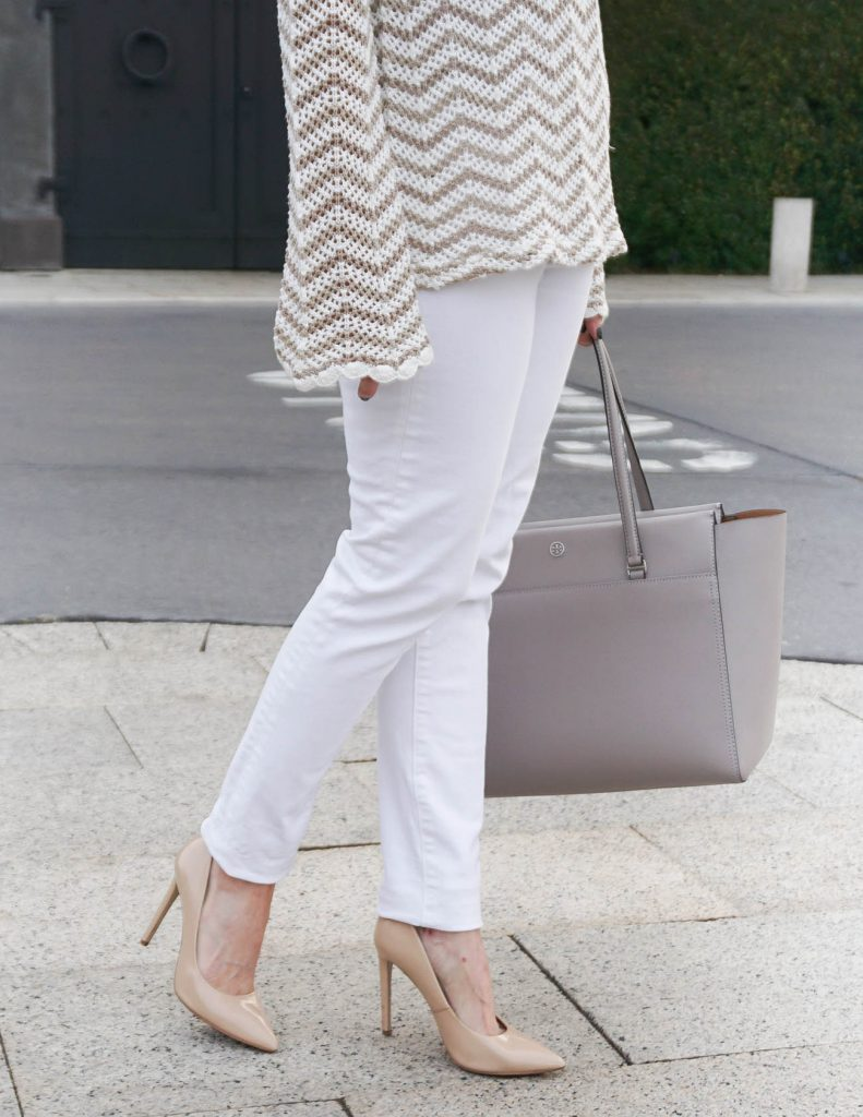 White Skinny Jeans | Nude Heels | Houston Fashion Blogger Lady in Violet