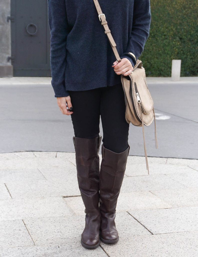Winter Outfit | Black Jeans | Brown over the knee boots | Houston Fashion Blogger Lady in Violet