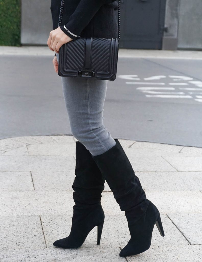 Winter Outfit | Suede Slouchy Boots | Gray Skinny Jeans | Houston Fashion Blogger Lady in Violet