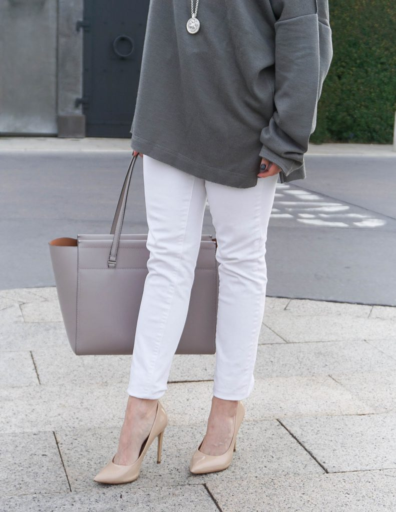 Winter Outfit | White Skinny Jeans | Nude Heels | Houston Fashion Blogger Lady in Violet