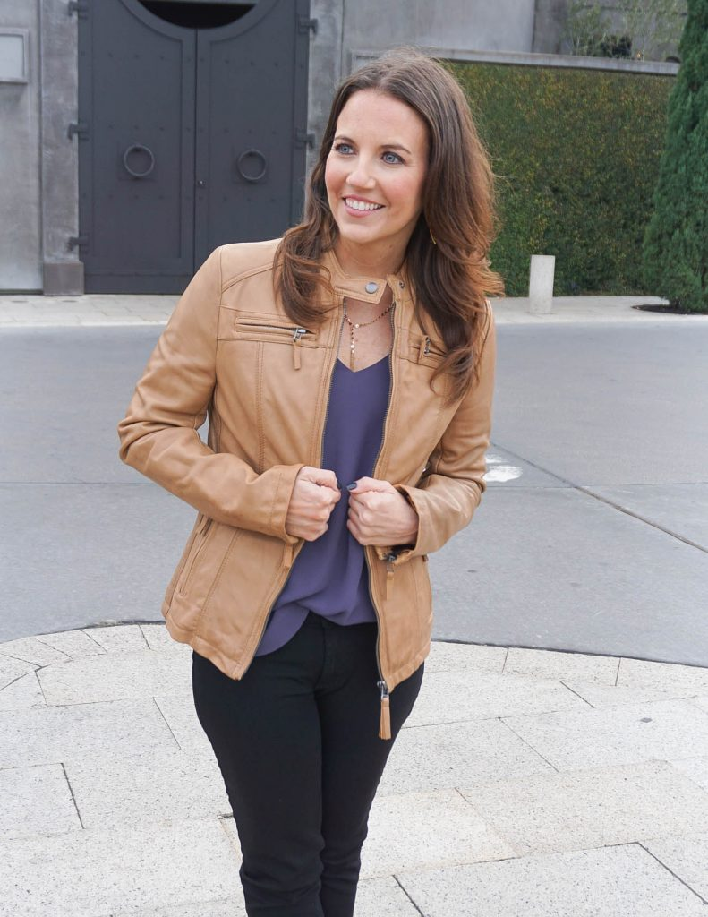 Casual Outfit | Tan Leather Jacket for Spring | Houston Fashion Blogger Lady in Violet