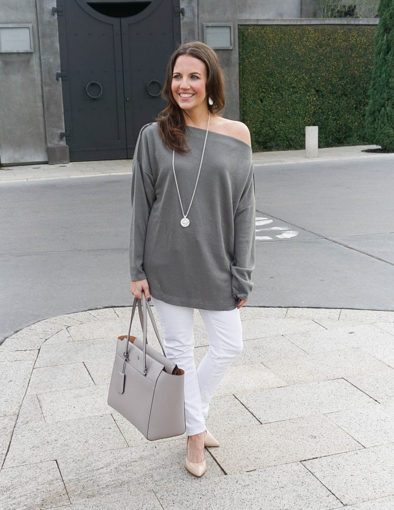 Casual Winter Outfit | One Shoulder Tunic | White Jeans | Houston Fashion Blogger Lady in Violet