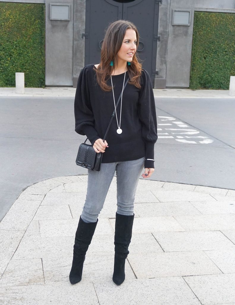 Casual Winter Outfit | Statement Sleeve Sweater | Black Boots | Houston Fashion Blogger Lady in Violet