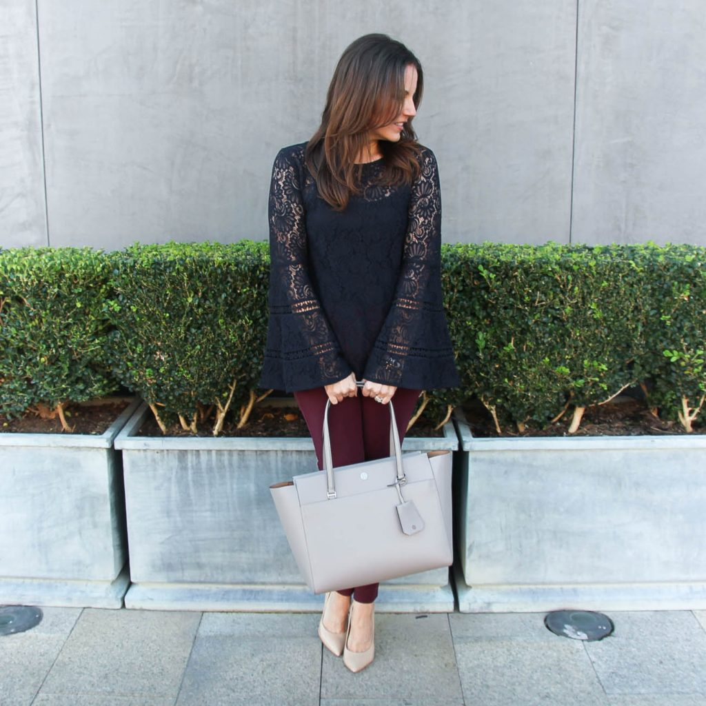 Fall Work Outfit | Navy Lace Top | Burgundy Pants | Houston Fashion Blogger Lady in Violet