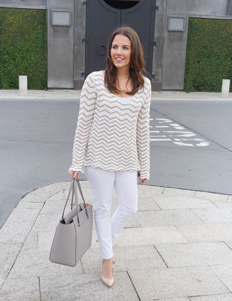 How To Wear winter white | Striped Sweater | Houston Fashion Blogger Lady in Violet