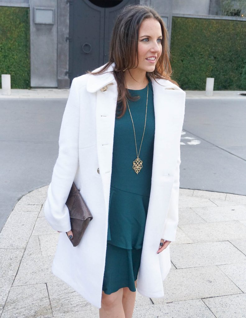 Winter Work Outfit | Teal Dress | Long Gold Necklace | Houston Fashion Blogger Lady in Violet