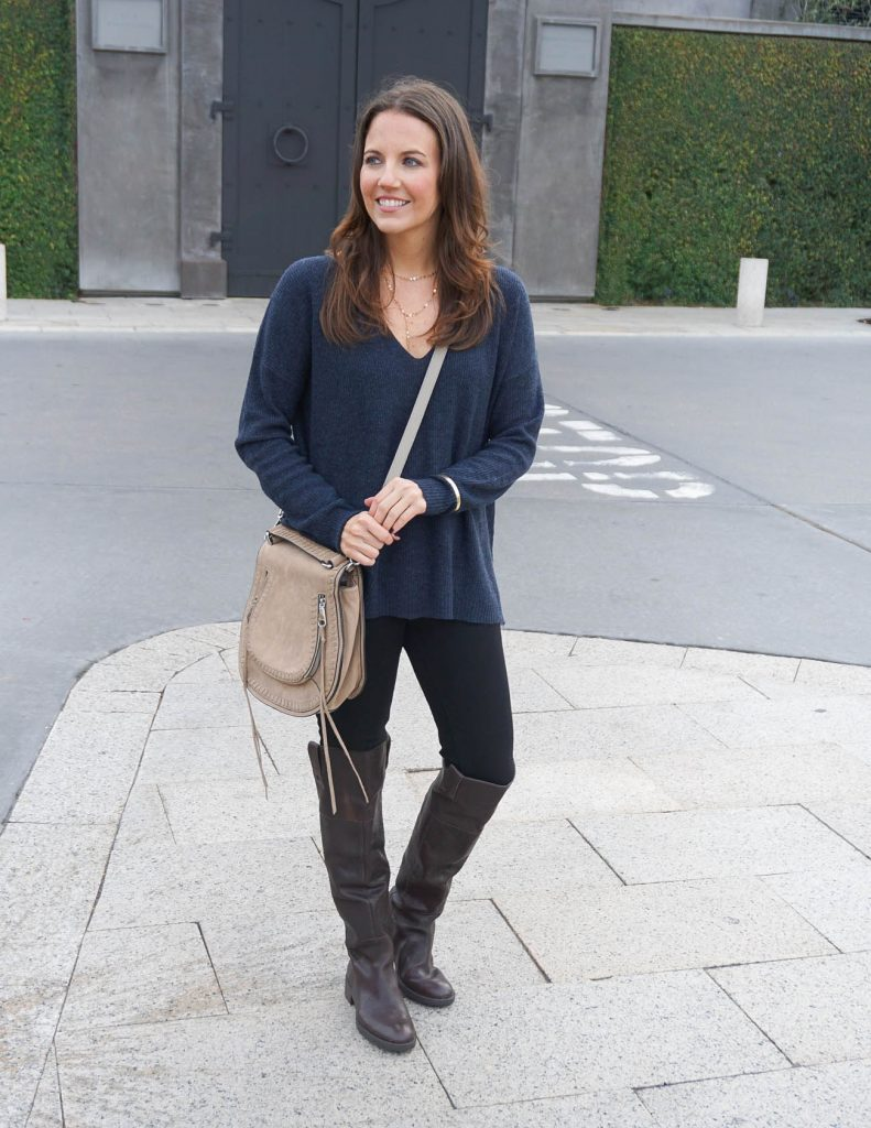 Casual Fall Outfit | Navy Sweater | Brown OTK Boots | Houston Fashion Blogger Lady in Violet