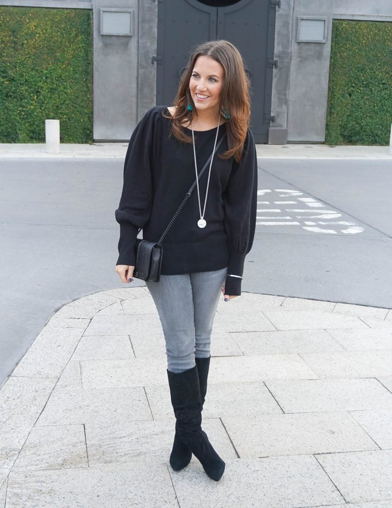 Winter Outfit | Blouson Sleeve Sweater | Gray Jeans | Houston Fashion Blogger Lady in Violet