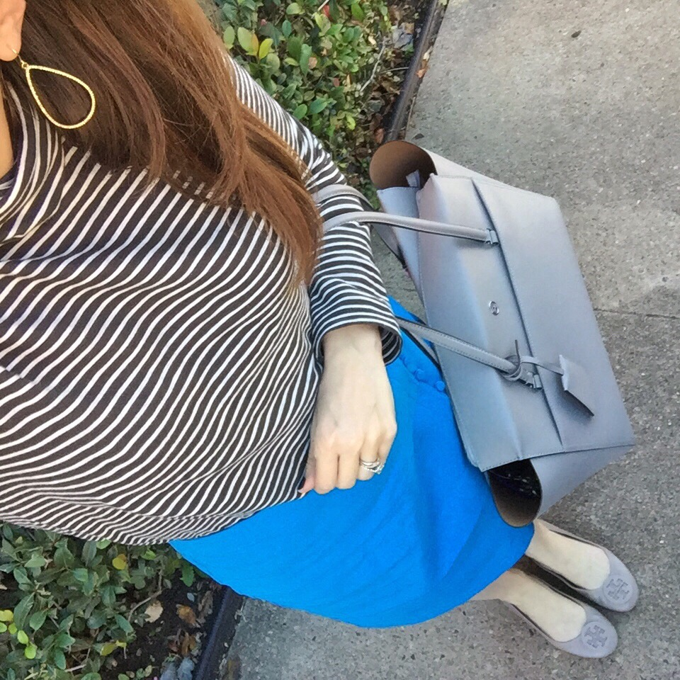 Winter Work Outfit | Striped Turtleneck | Blue Pencil Skirt | Houston Fashion Blogger Lady in Violet