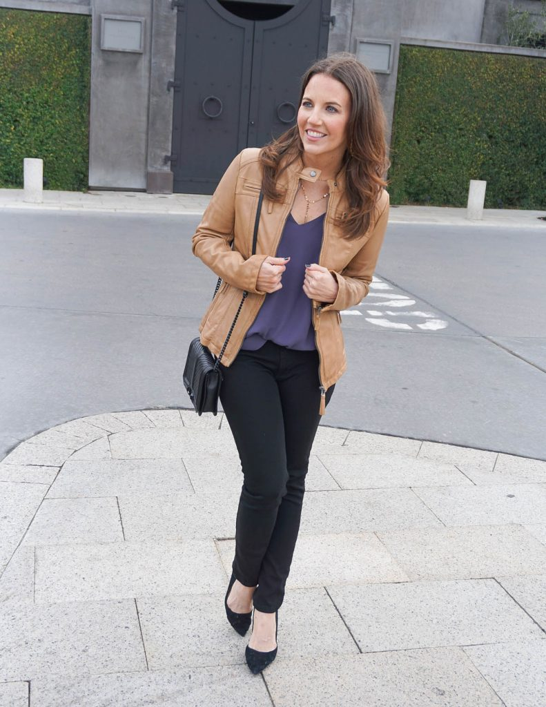 Fall Outfit | Brown Leather Jacket | Black Skinny Jeans | Houston Fashion Blogger Lady in Violet