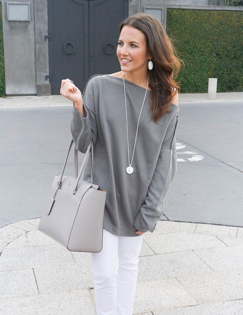 Loungewear Sweater | White Skinny Jeans | Tory Burch Tote | Houston Fashion Blogger Lady in Violet