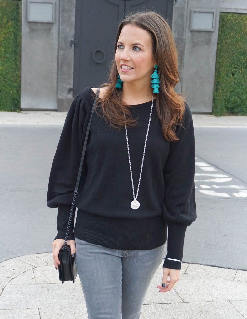 Winter Outfit | Green Tassel Earrings | Statement Sleeve Sweater | Houston Fashion Blogger Lady in Violet