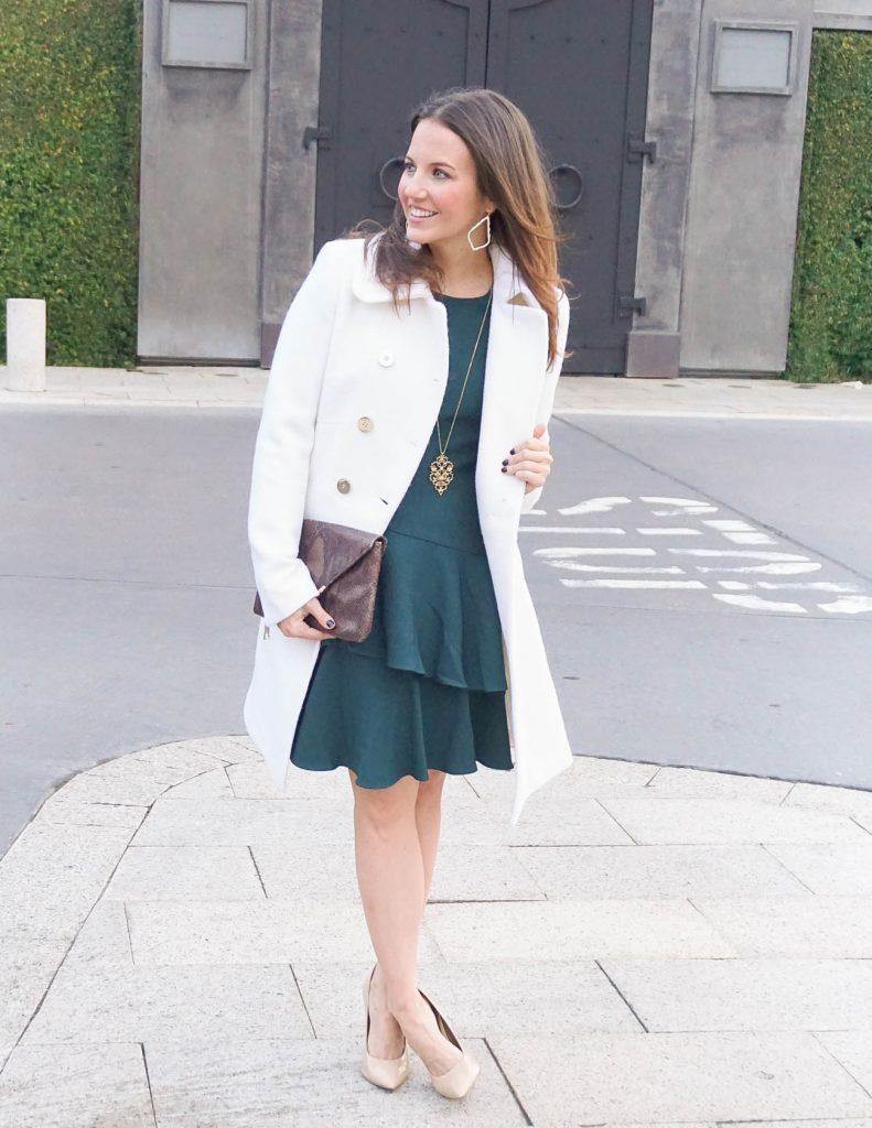 Winter Outfit | Teal Dress | Ivory Coat | Houston Fashion Blogger Lady in Violet