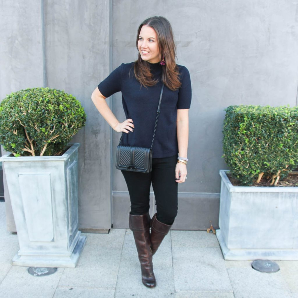 Casual Fall Outfit | Navy Sweater | Brown Riding Boots | Houston Fashion Blogger Lady in Violet