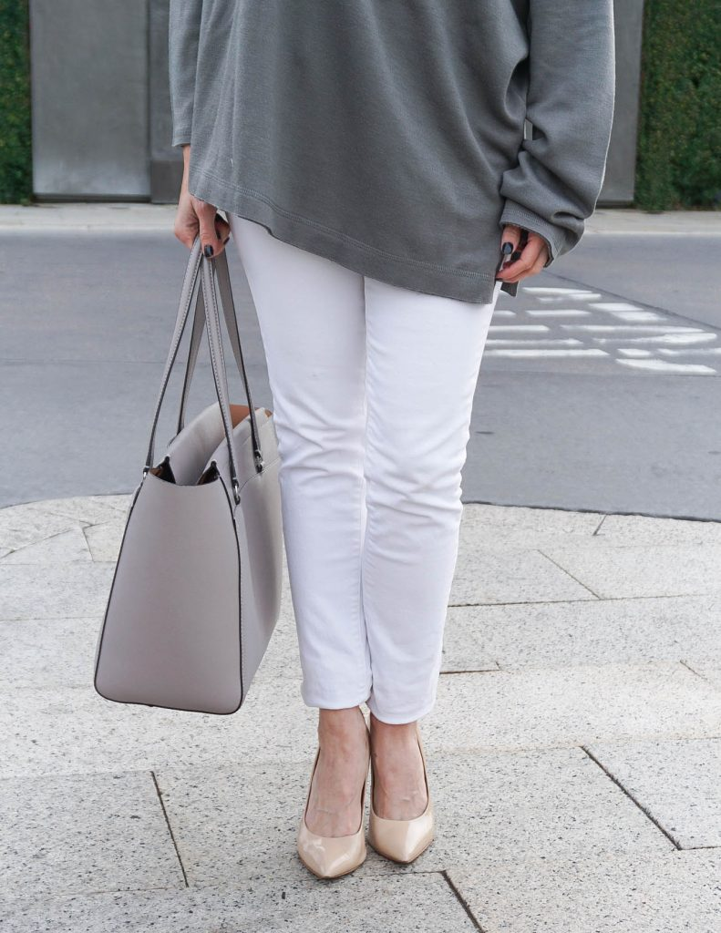 Casual Outfit | White Skinny Jeans | Blush Heels | Houston Fashion Blogger Lady in Violet